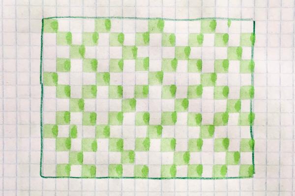 na kartce wkratkę narysowany prosty wzór żakardowy wromby