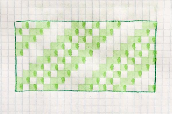 na kartce wkratkę narysowany prosty wzór żakardowy ukośny